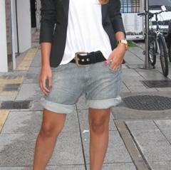 с чем носить джинсовые шорты женские фото